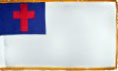 3x5 FT Indoor Christian Flag Sewn with Gold Fringe and Sleeve